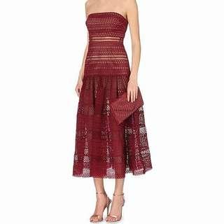 BNWOT Self Portrait Inspired Maroon/ Dark red/ Red/ Burgandy Strapless Geometric Lace Dress
