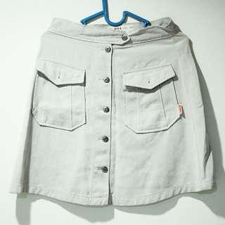 Mini Skirt - Botton Skirt Grey rok mini kancing abu-abu