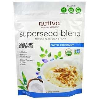 Nutiva 有機超級種子混合配椰子 美國直送