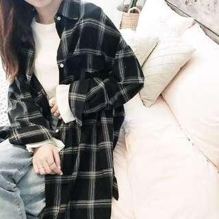韓版百搭寬鬆BF風休閒黑色格子長版襯衫外套