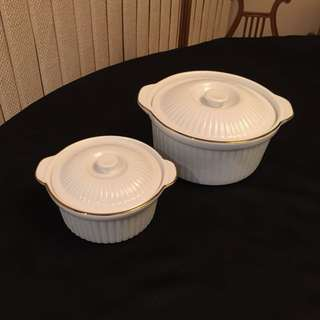 Two Covered Porcelain Casserole Dishes by Pegasus