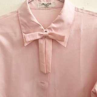 Kemeja Korean Shirt Ribbon Bow