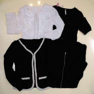 針織亮片長短袖氣質短外套上衣共4件