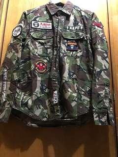 AAPE camo shirt 迷彩 恤衫 長袖 (size M) 99% new
