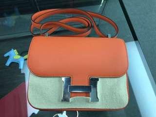Hermes Constance mini 8V Orange Poppy Swift Leather 銀扣 Full set with original receipt