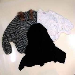 毛領飛鼠長短袖毛衣背心共3件
