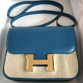 Hermes Constance mini, 7W Bleu Lzmir 金扣,Full set with original receipt