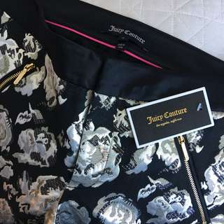 BNWT Juicy Couture 0 Pitch Black Metal Floral Pant