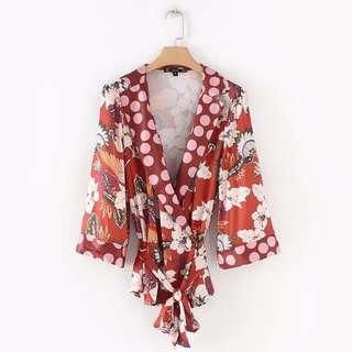 Zaraa Inspired Printed kimono style wrap blouse
