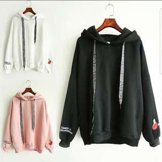 [PO] Korean Style Long Ribbon Table Tennis Patch Hoodie/Pullover