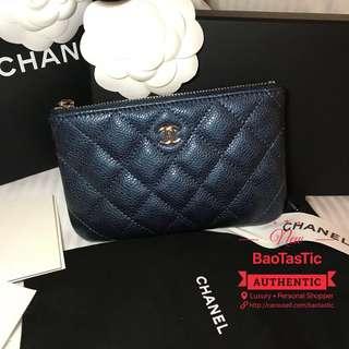 BNIB Chanel Mini O Case in Iridescent Dark Blue Caviar with Light Gold Hardware