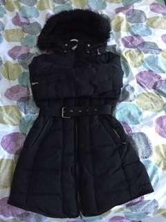 Zara Down Winter Parka - Black with gold details