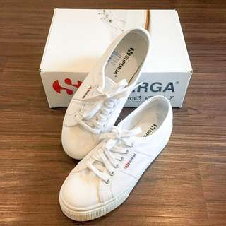 Superga white sneaker wedges
