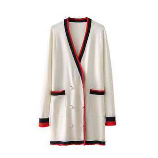 Zaraa Inspired Contrast Banded Long Knit Cardigan