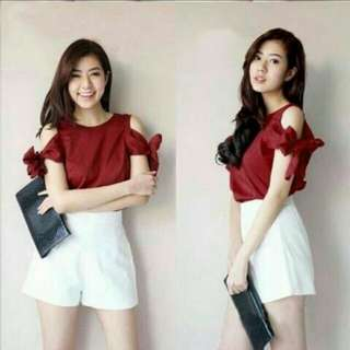 F47-Blouse Molly Maron@43 Bhn Wolly Crepe LD104 Pjg70 Fit-XL-XXL