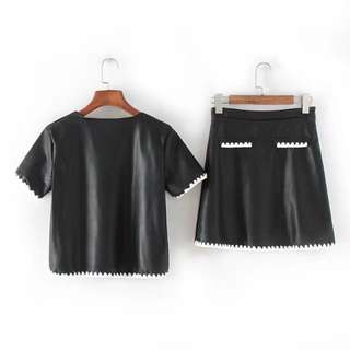2 pc Pu Leather Yarny Detail Top and Skirt Set