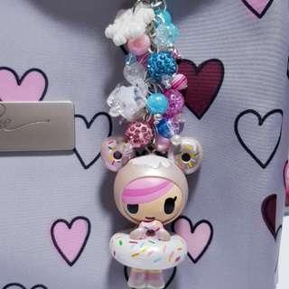 Donutella beads keychain