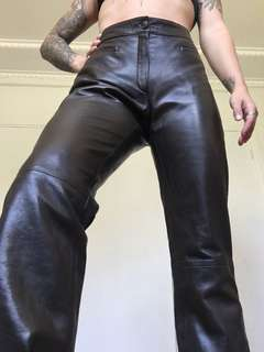 Karma real brown leather, silk lined pants