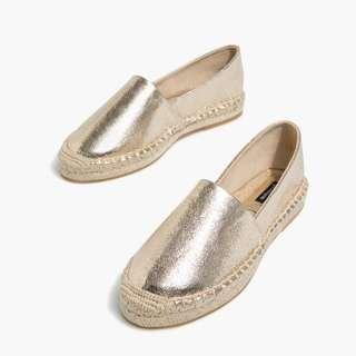 西班牙設計金屬色草編鞋