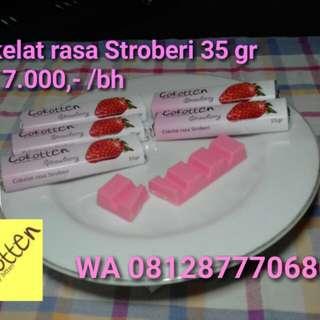 Cokelat Bar 35 gr rasa Stroberi Strawberry flavour Chocolate Cokotten Cokelat Depok.