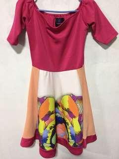 Plains & prints dress / off shoulder dress / Pink dress
