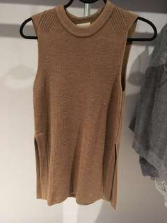 Aritzia Wilfred palmier sweater knitted camel