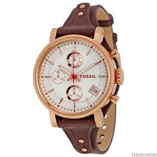 100% Authentic - Fossil Womens ES3616 Original Boyfriend Rose Gold-Tone Watch with Brown Leather Band