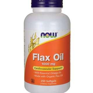 (USGMP) NWF884 NOW Foods Organic Flax Oil 1000mg 250 Sgels 有機亞麻籽油