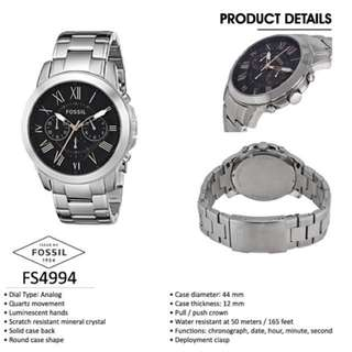 100% Authentic - FOSSIL GRANT CHRONOGRAPH STAINLESS STEEL WATCH