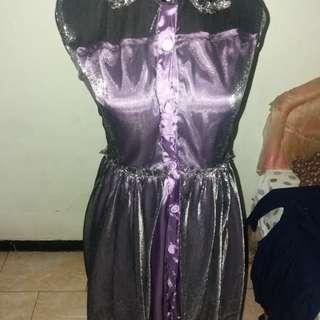 Dress party hitam ungu