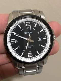 Casio Original New MTP-1328BD-1A2 Mens Watch MTP-1328D MTP-1328 Black Silver
