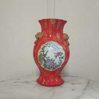 Republic period coral red vase height 31cm perfect condition