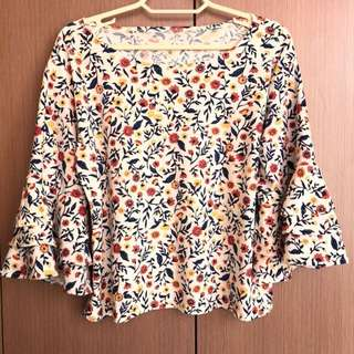 Floral Flare Sleeves Top