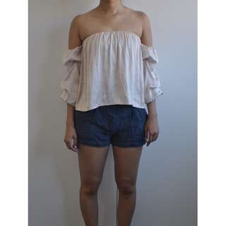 Bardot Bandeau Top with Hidden Corset Detail and 3/4 Flute Sleeves
