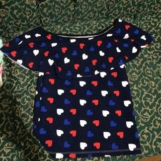 Navy Blue Heart Off Shoulder
