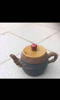 Colorful medium  small clay teapot