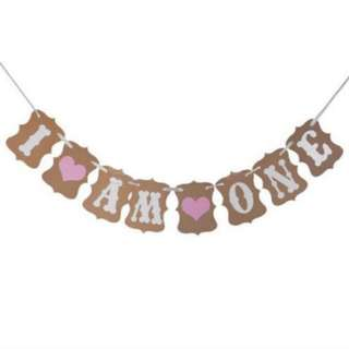 I AM ONE birthday bunting banner pink heart