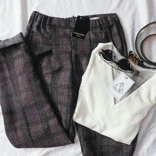 Checked Zara Pants Basic