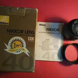 Lensa Fix Nikon 40mm AFS Macro Bekas