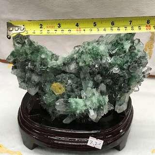 录幽灵水晶柱 2.2kg 20CM WIDE PHANTOM QUARTZ WITH CITRINE