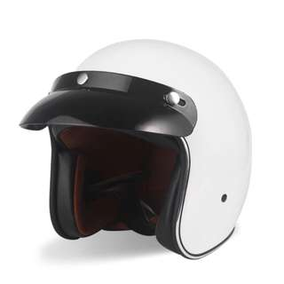 White Motorcycle Helmet Open Face Three Button Snap Retro Vintage Vespa Scooter Cafe Racer Motorbike Leather Gloss Old School