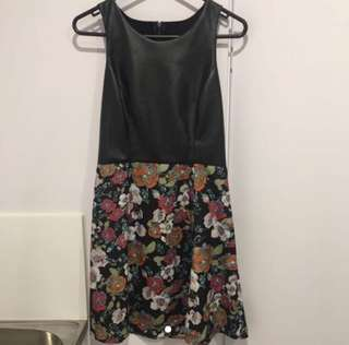 Leather/ Floral Combo Dress - Size 8