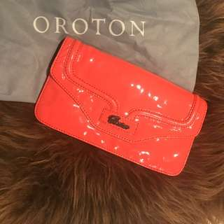 Oroton Patent Leather Coral Clutch