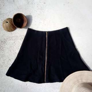 Black A-Line Skirt with Zipper