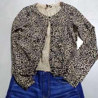 H&m針織豹紋春秋啱著小外套