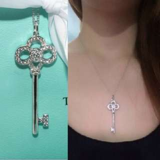 Necklace silver key.