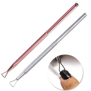 NICOLE DIARY Rose Gold Silver Stainless Steel Triangle Stick Rod UV Gel Polish Remover Wet Paper Nail Care Nail Art Tool