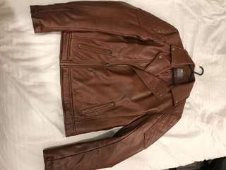 ASOS brown leather biker jacket