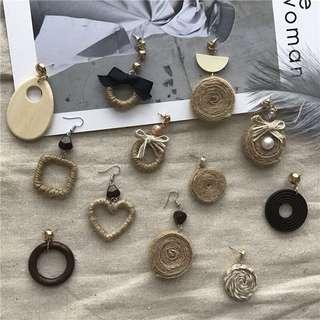 🚚 手工麻繩蝴蝶結珍珠心型長款耳環