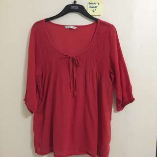 🎀 Old Navy Red 3/4 Sleeved Top - Light Fabric
